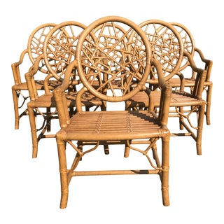 Late 20th Century Rattan Cracked Ice McGuire Style Chinoiserie Palm Beach Chairs - Set of 6 For Sale