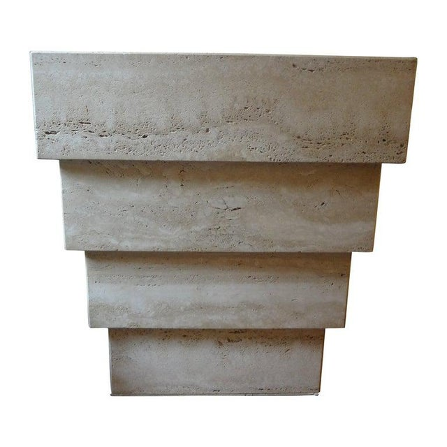 Beautiful Italian travertine pedestal, console or dining table base consisting of an inverted stack of travertine...