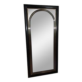 Vintage 1980's Mid-Century Black Laquer Mirror For Sale