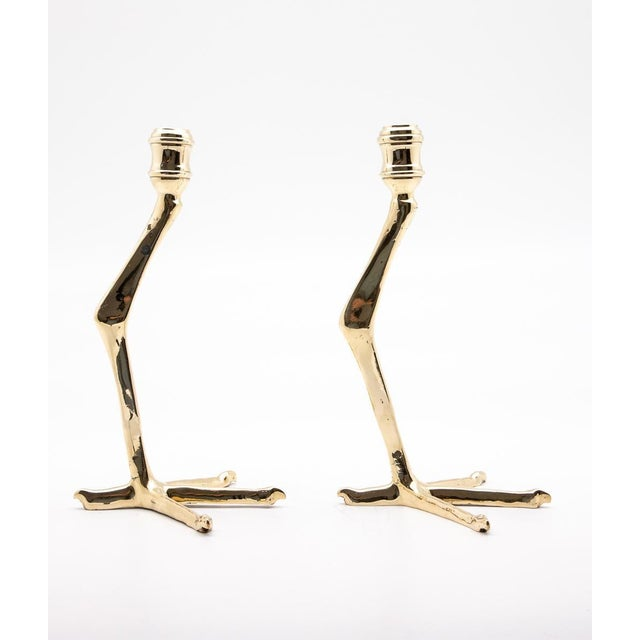 Small Brass Tingis Birdfoot Candlesticks - A Pair For Sale - Image 4 of 7