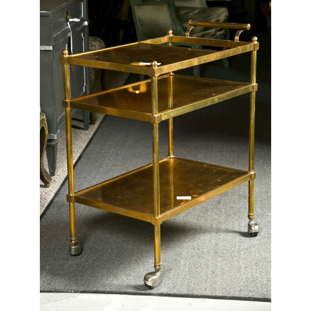 French Art Deco Gilt Brass Tea Cart For Sale In New York - Image 6 of 6