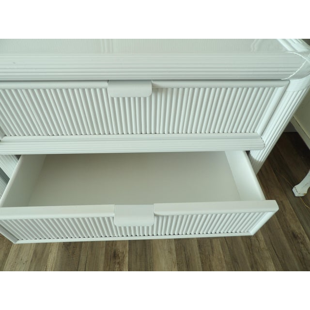 Contemporary Vintage Pencil Reed Rattan 3 Drawer Nightstands - a Pair For Sale - Image 3 of 5