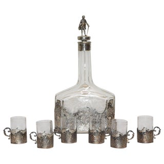 Victorian Silver and Engraved Crystal Decanter With Cordial Cups For Sale