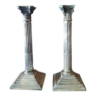 Pair of Antique Silver Plated Candlesticks For Sale
