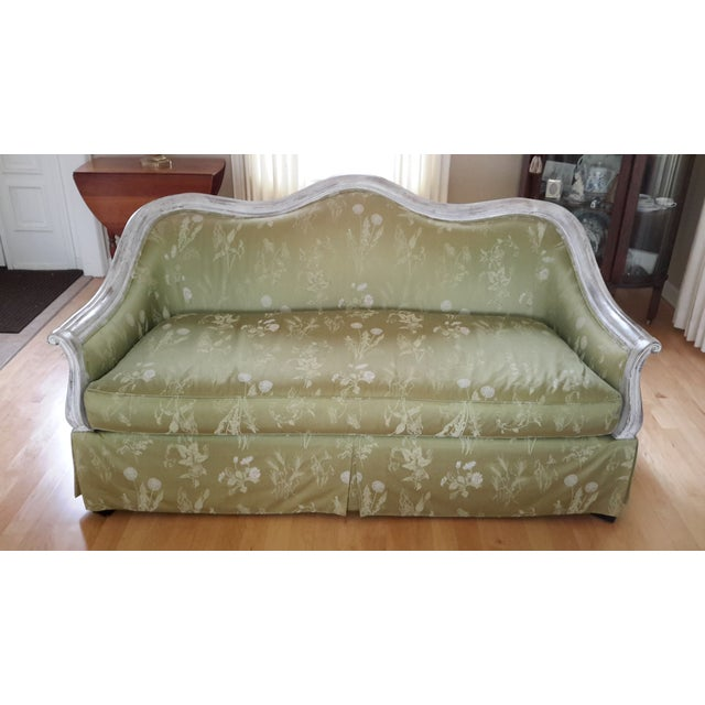 Custom made settee with beautiful green damask fabric with ivory and subtle rose accents. Very comfortable. Oak frame with...