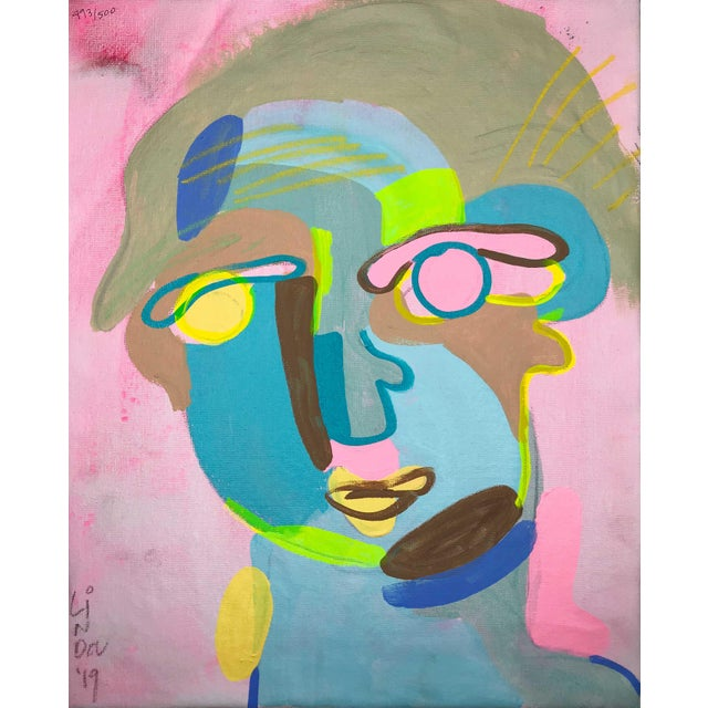 """Contemporary Abstract Portrait Painting """"Let's Have Some Fun, No. 2"""" - Framed For Sale"""