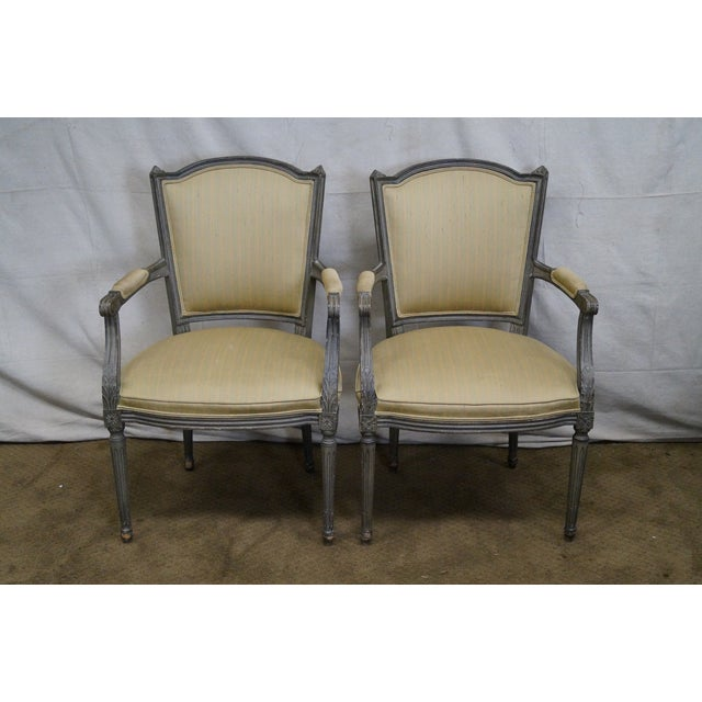 Vintage Painted French Louis XVI Style Dining Chairs - Set of 6 - Image 2 of 10