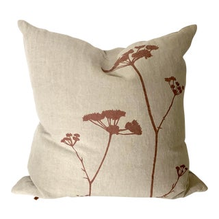 Botanical Hand Printed Linen Pillow - Queen Anne's Lace For Sale
