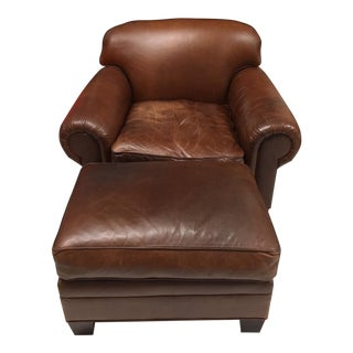 Ralph Lauren by Henredon Leather Chairs and Ottoman For Sale