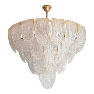 Mazzega Style Mid-Century Modern Murano Glass Chandelier For Sale
