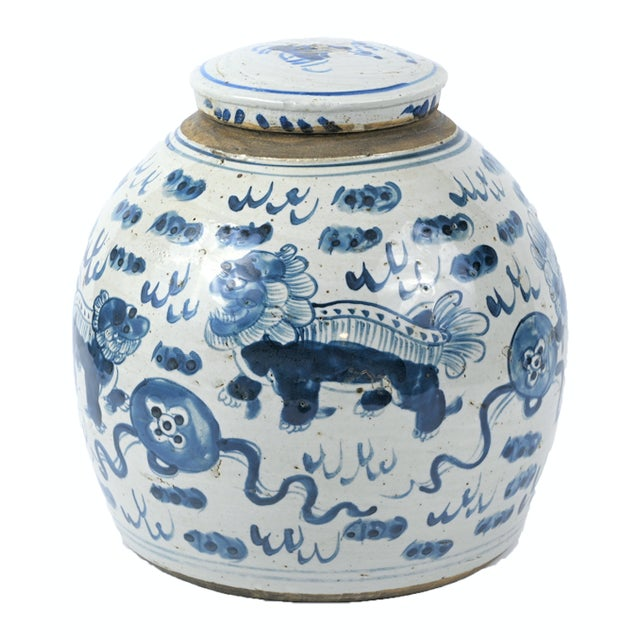 Chinoiserie Chinoiserie White & Blue Foo Dog Ginger Jar For Sale - Image 3 of 4