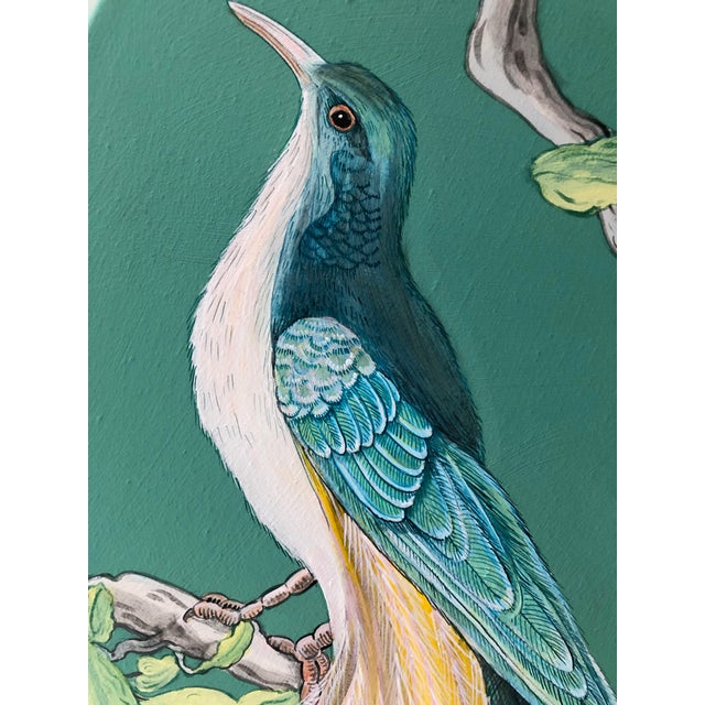 The Arrival Contemporary Bird Botanic Painting For Sale - Image 10 of 12
