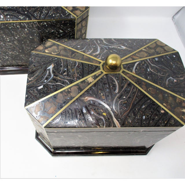 Maitland - Smith Maitland-Smith Inlaid Stone With Brass Accents Boxe For Sale - Image 4 of 11