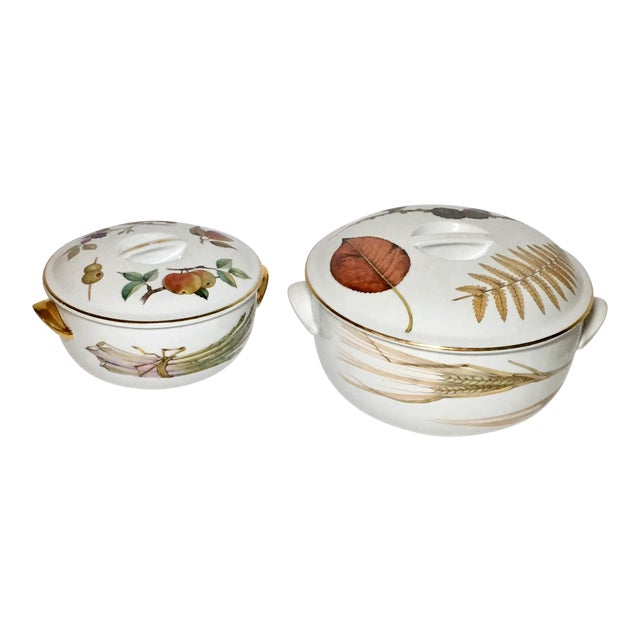 Royal Worcester Evesham Casseroles - A Pair For Sale