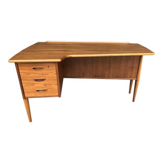 Teak Floating Top Biomorphic Desk by Goran Strand for Lelangs Mid Century Modern Vintage Swedish Danish Scandinavian Design