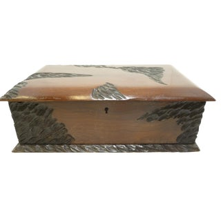Antique Gentleman's Wood With Original Fabric Lining Document Box For Sale
