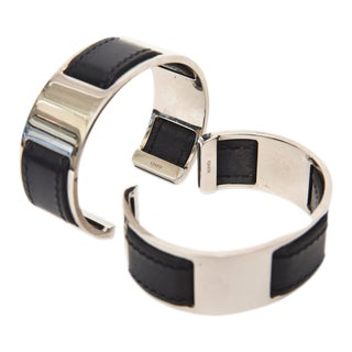 Hermes by Martin Margiela Chrome Plated Stainless Steel and Black Leather Cuff Bracelets - a Pair For Sale