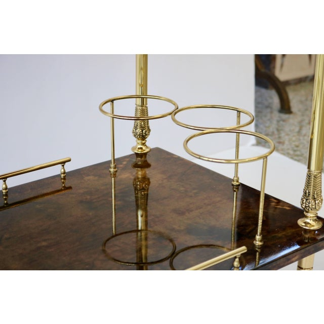 Metal 1960s Goatskin and Brass Bar Cart by Aldo Tura For Sale - Image 7 of 11