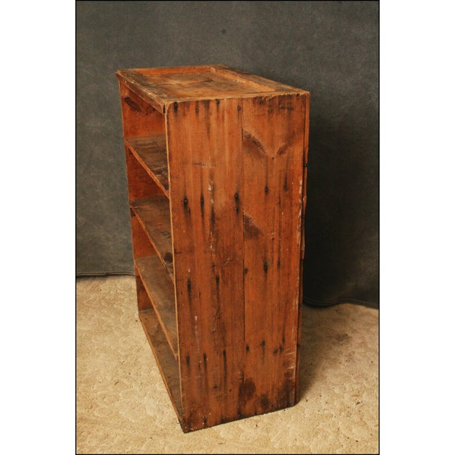 Metal Vintage Industrial Wood Bookcase made from Underwood Typewriter Crates For Sale - Image 7 of 11