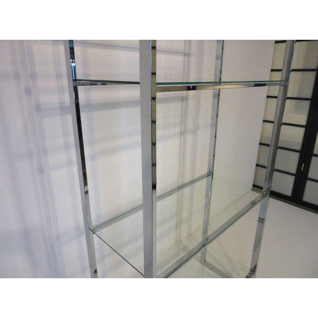 1980s 1970's Chrome and Glass Etagere For Sale - Image 5 of 6