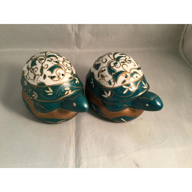 Vintage Elizabeth Arden porcelain Turtles Pomander Forest Treasures Collection 1991.