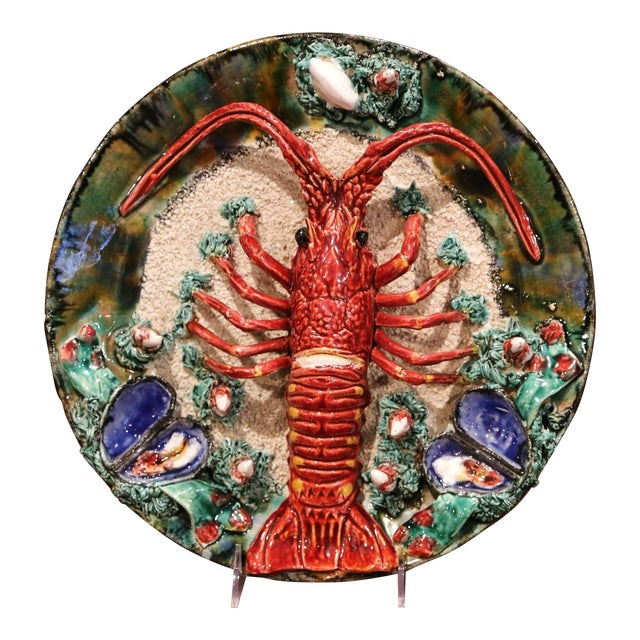 Early 20th Century French Ceramic Barbotine Lobster Platter From Brittany For Sale