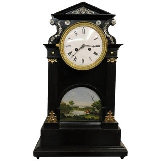 19th Century Inlaid Wood With Miniature Painting Table Clock Pendule For Sale