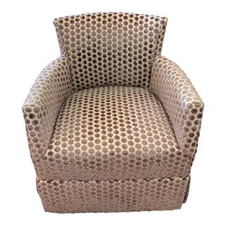 Kravet Tarragona Cut Velvet Swivel Chair For Sale