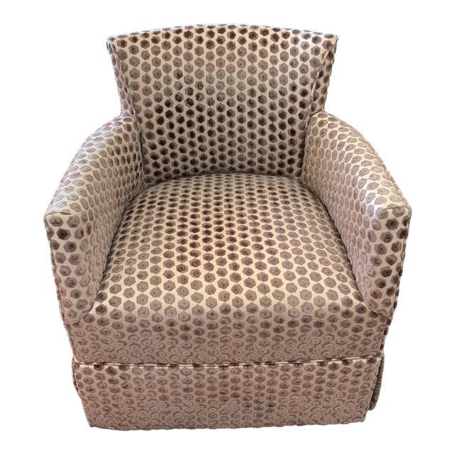 Kravet Tarragona Cut Velvet Swivel Chair For Sale