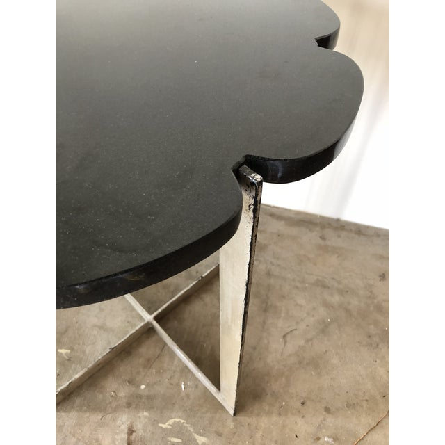 Contemporary Black Granite With Silver Leaf Iron Base Side Table For Sale - Image 3 of 4