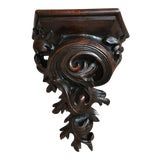 Image of Antique French Victorian Carved Walnut Corbel Wall Shelf For Sale