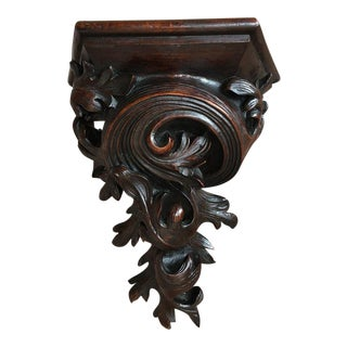 Antique French Victorian Carved Walnut Corbel Wall Shelf