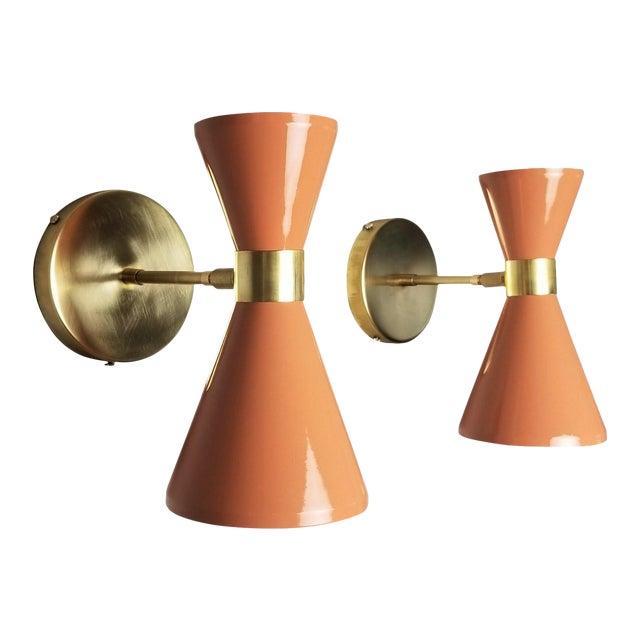 "Italian Modern Brass & Blush Enamel ""Campana"" Wall Sconces - A Pair For Sale"