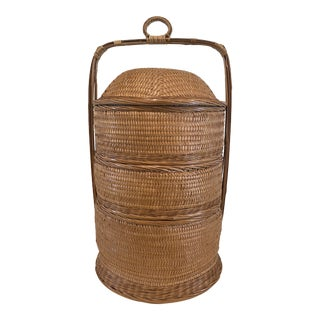 Vintage Boho Chic Wicker Stackable Storage Basket For Sale
