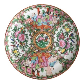 19th Century Chinese Rose Medallion Porcelain Plate For Sale