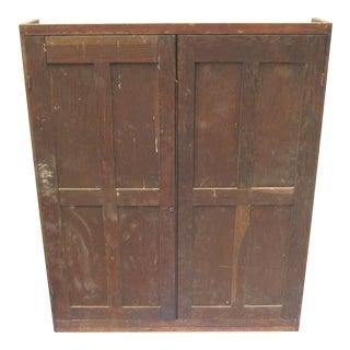 Vintage 2 Door Oak Cubby Hole Store Cabinet