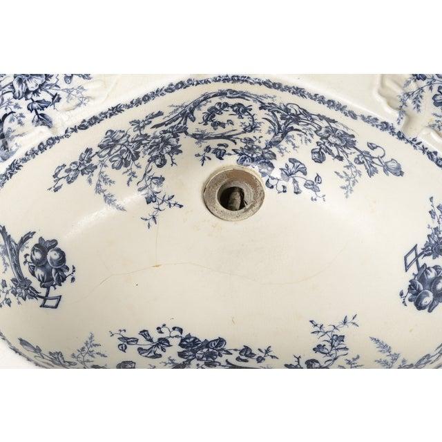 Blue Porcelain Sink Basin With Blue Floral Pattern For Sale - Image 8 of 8