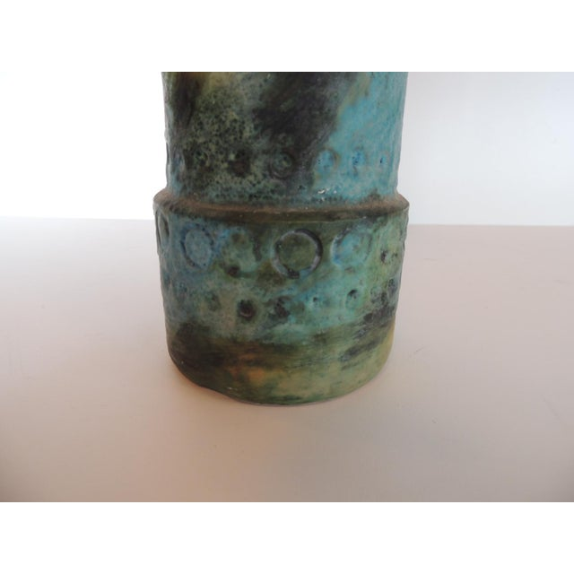 Ceramic Mid-Century Modern Aqua and Green Hand Painted Pottery Vase With Iron Handles For Sale - Image 7 of 8
