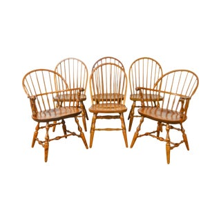 Nichols & Stone Set of 6 Maple Windsor Dining Chairs