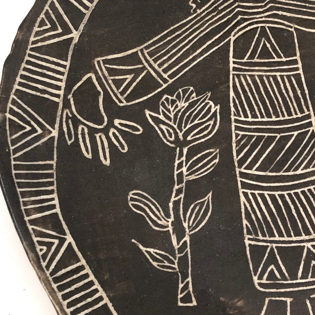 Various Artists Slab Pottery Plate With Sgraffito Earth Mother and Flowers For Sale - Image 4 of 13