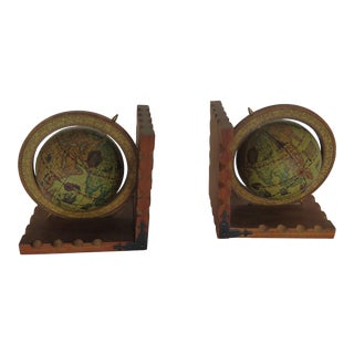 1970s Italian Birch Globe Book Ends - a Pair