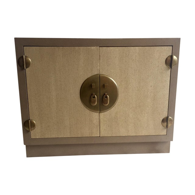 Marge Carson Ostrich Skin & Brass Accent Cabinet - Image 1 of 8