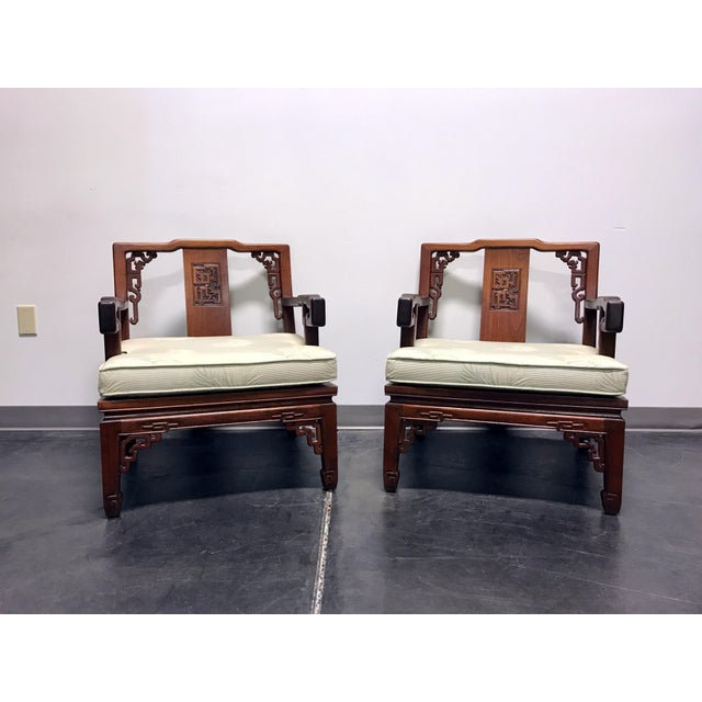 Asian Korean Carved Mahogany Lounge Chairs - Pair For Sale - Image 11 of 11
