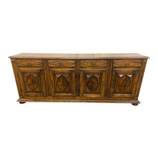Italian Oak Four Door Credenza - Early 20th C For Sale