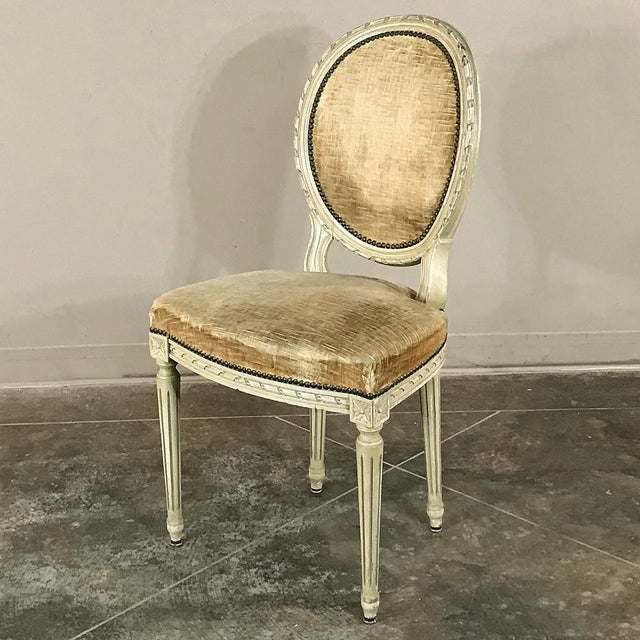 Set of 6 Antique French Painted Louis XVI Chairs For Sale - Image 11 of 13