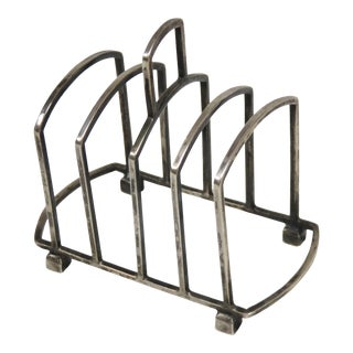 1922 Art Deco Sterling Silver Toast Rack For Sale