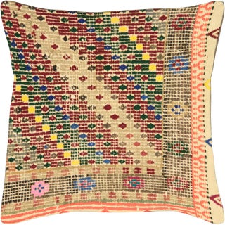 "Nalbandian - 1960s Turkish Cicim Pillow - 16"" X 16"" For Sale"