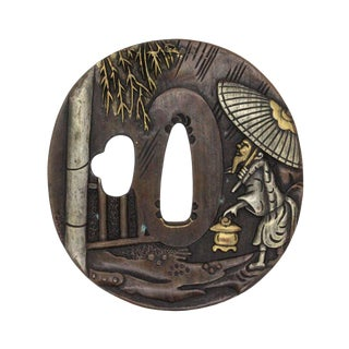 Bronze Quality Handcrafted Japanese Round Tsuba With Wise Old Man Walking in the Rain For Sale