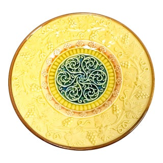 1910s Majolica German Yellow Grape Vine Scroll Motif Plate, Marked G S Zell For Sale