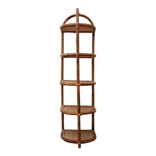 Art Deco Style Rattan Etagere For Sale